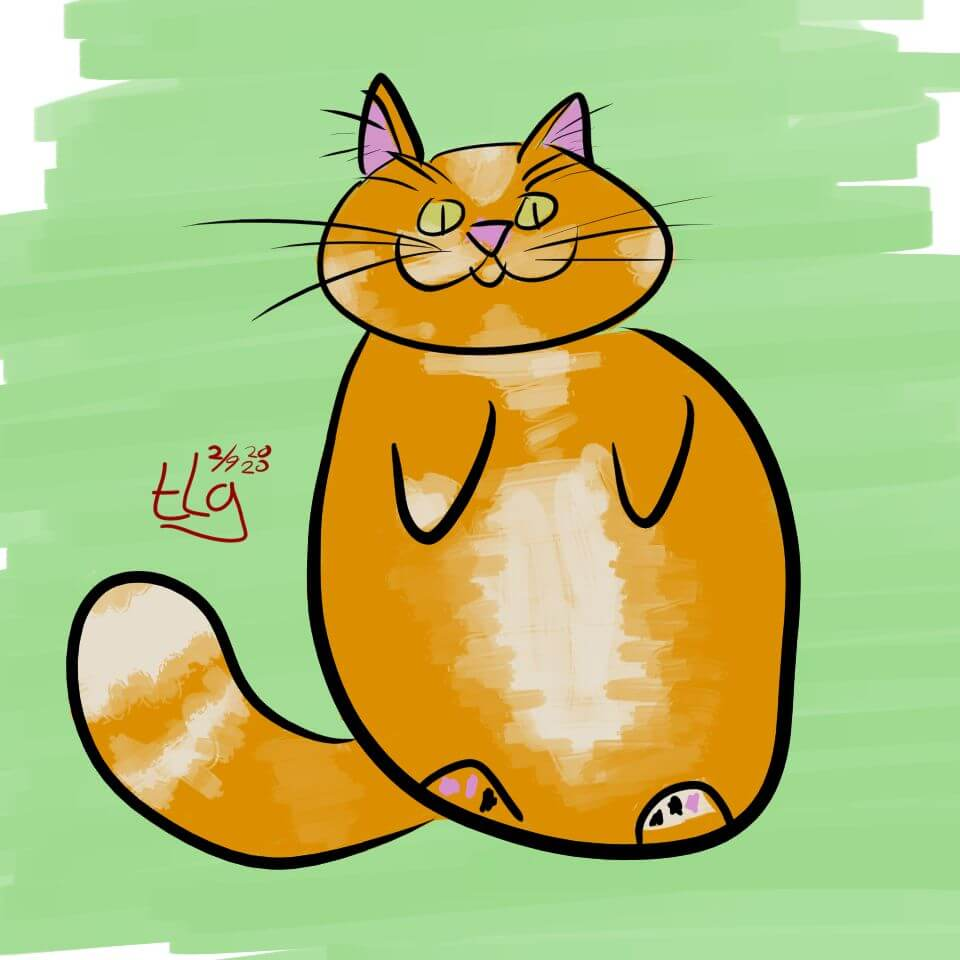Simple colored drawing of an orange tabby cat on its back.