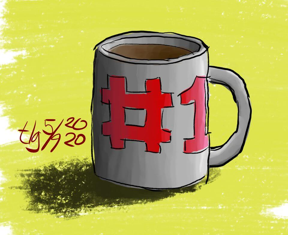 """Drawing of a mug with """"#1"""" in red on it."""