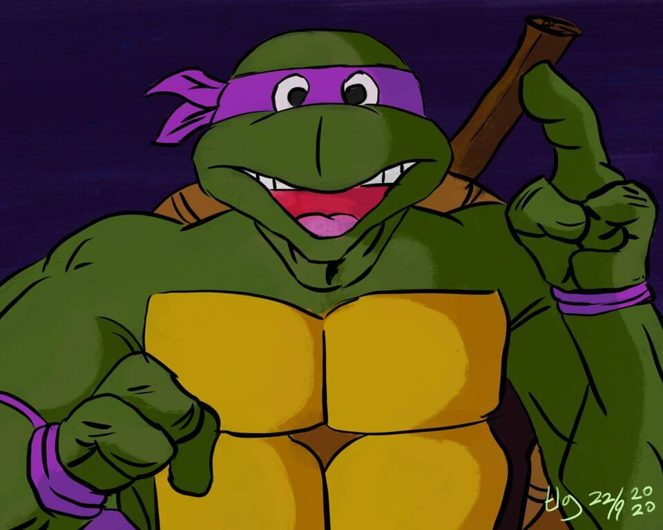 Drawing / painting of Donatello from the Teenage Mutant Ninja Turtles.