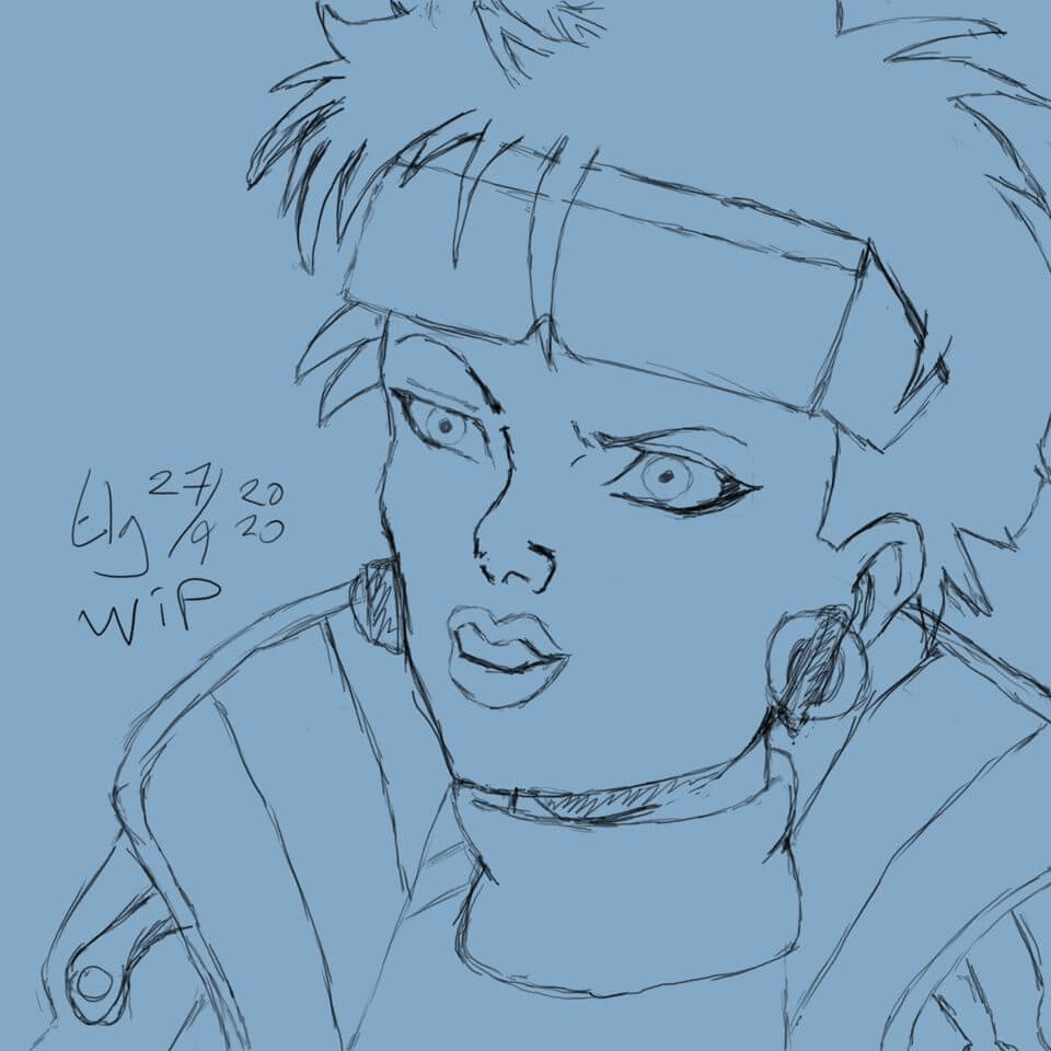 Sketch of Jubilee from the X-Men: The Animated Series '90s cartoon.