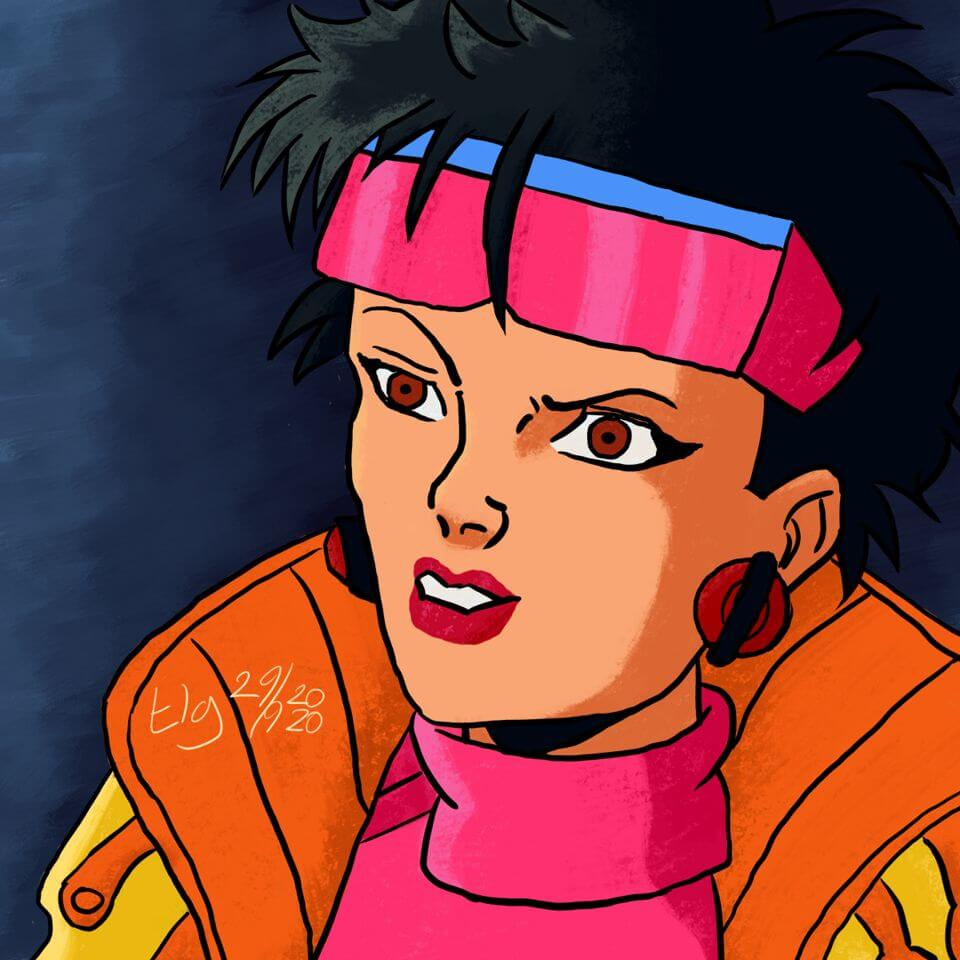 Painting of Jubilee from the X-Men: The Animated Series.