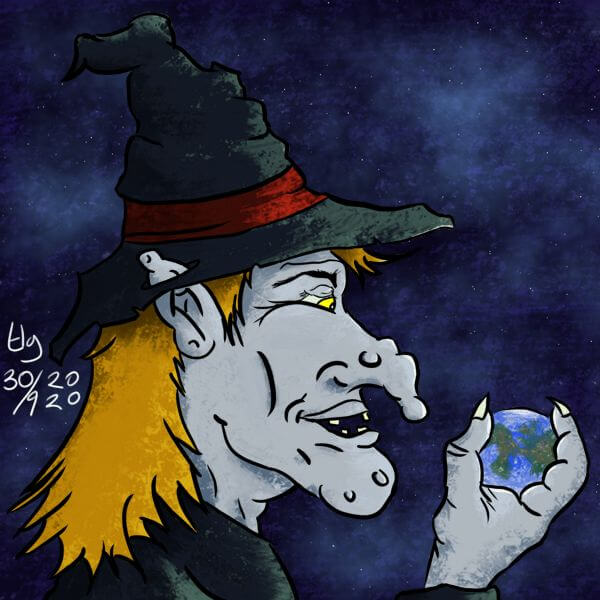 Painting of a pale blue witch with blonde hair, wearing a witches hat with a red band, holding an earth-like planet in her hand.