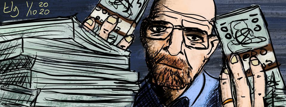 Painting of Walter White from the show Breaking Bad holding money in his hands. There are more stacks of money in front of him.