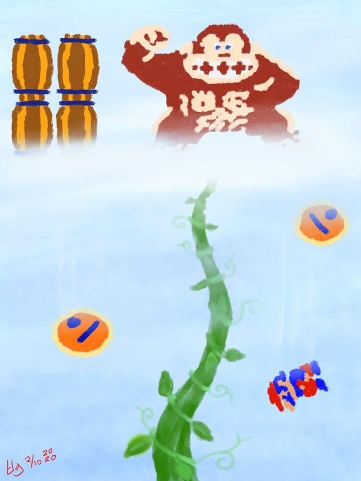 Painting of a beanstalk rising up into the clouds. Classic Donkey Kong is standing on top of the cloud hurling barrels down at Mario. One apparently hit him as he is seen falling down rapidly.