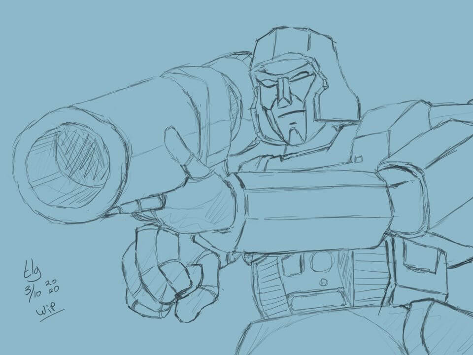 Sketch of Megatron from the 80s Transformers cartoon. He's holding up his big gun ready to fire it at someone. (Who?)