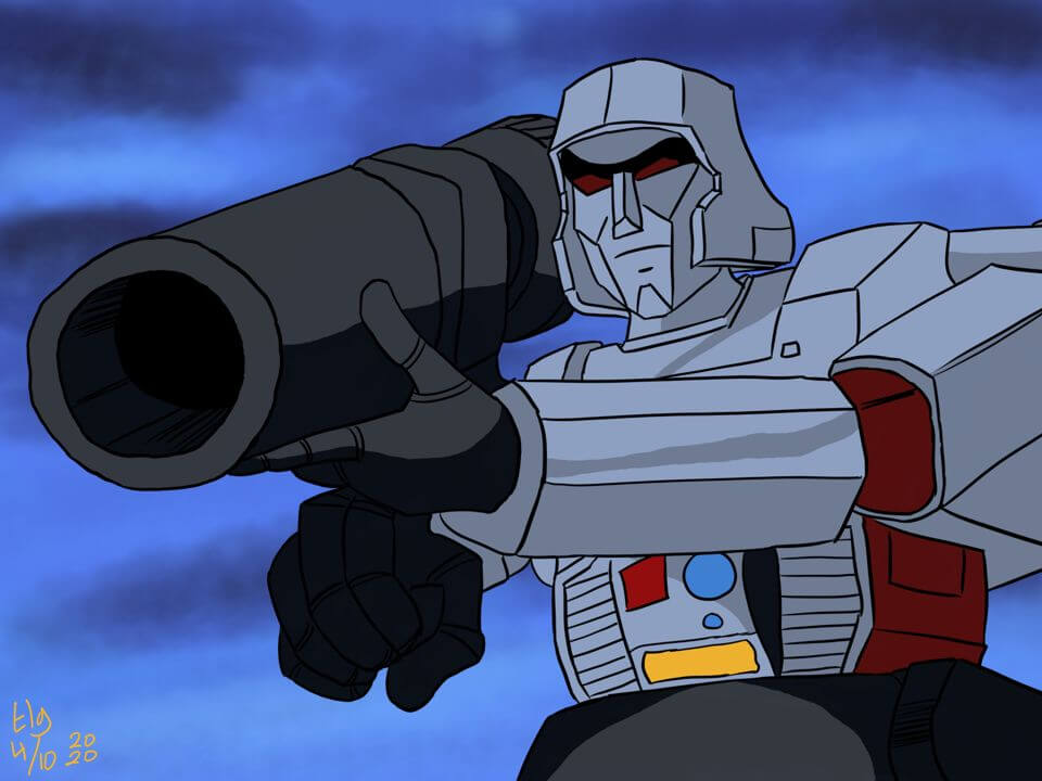 Painting of Megatron from the Transformers G1 '80s cartoon. He's pointing his enormous gun at someone.