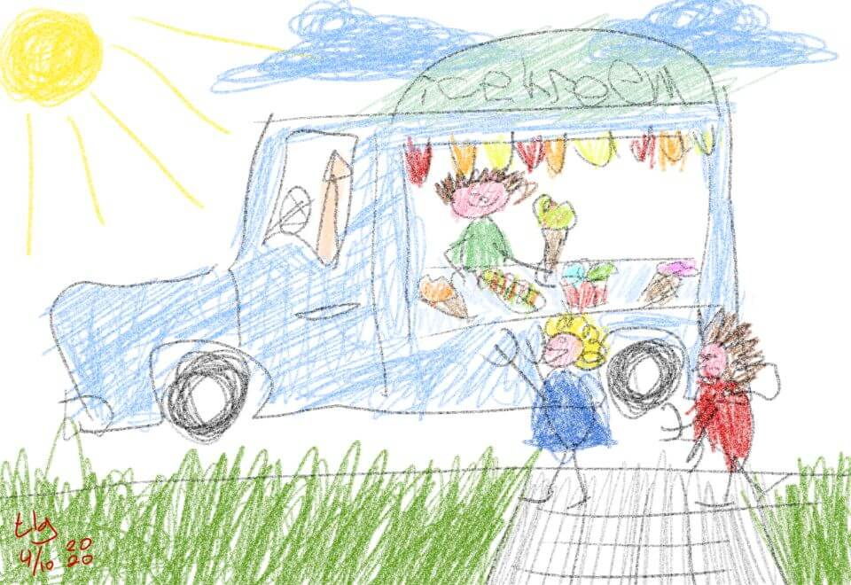 Crude drawing in crayon in the style of a young child. Pictured is an ice-cream truck with a man inside handing the kids in front an ice-cream cone.