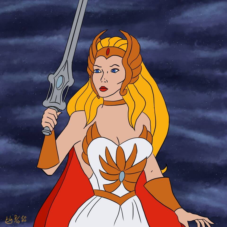 Drawing of 'Classic' She-Ra from the '80s television show. She's holding her iconic sword up.