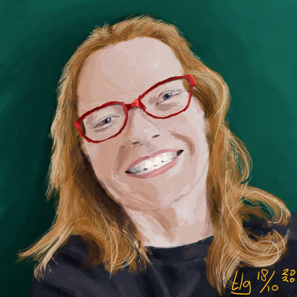 A digital painting portrait of a young woman with red glasses and a big open smile.