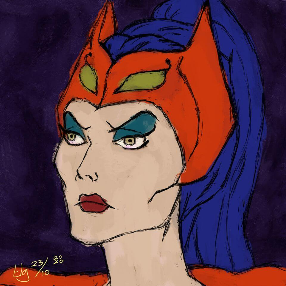 Rough colored painting of Catra from the '80s She-Ra cartoon.