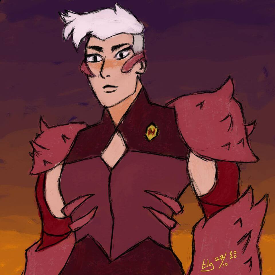 Rough colored painting of Scorpia from the She-Ra Netflix series.