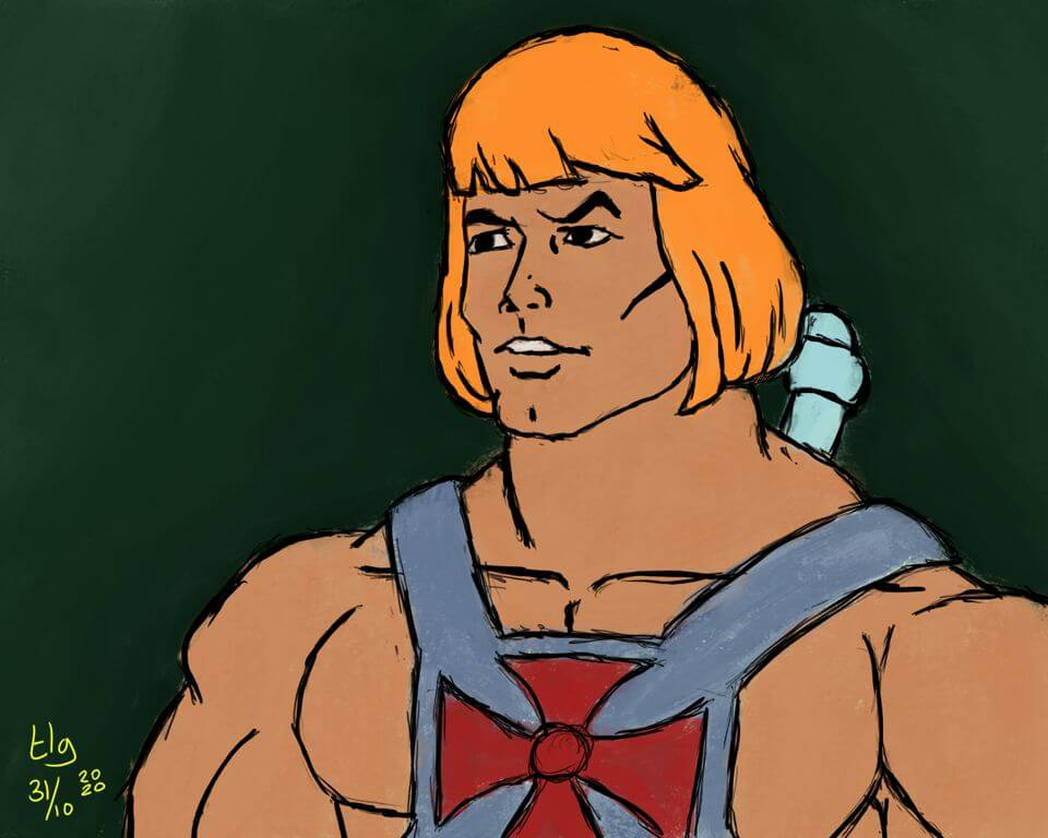 Quick painting of He-Man of the '80s cartoon.
