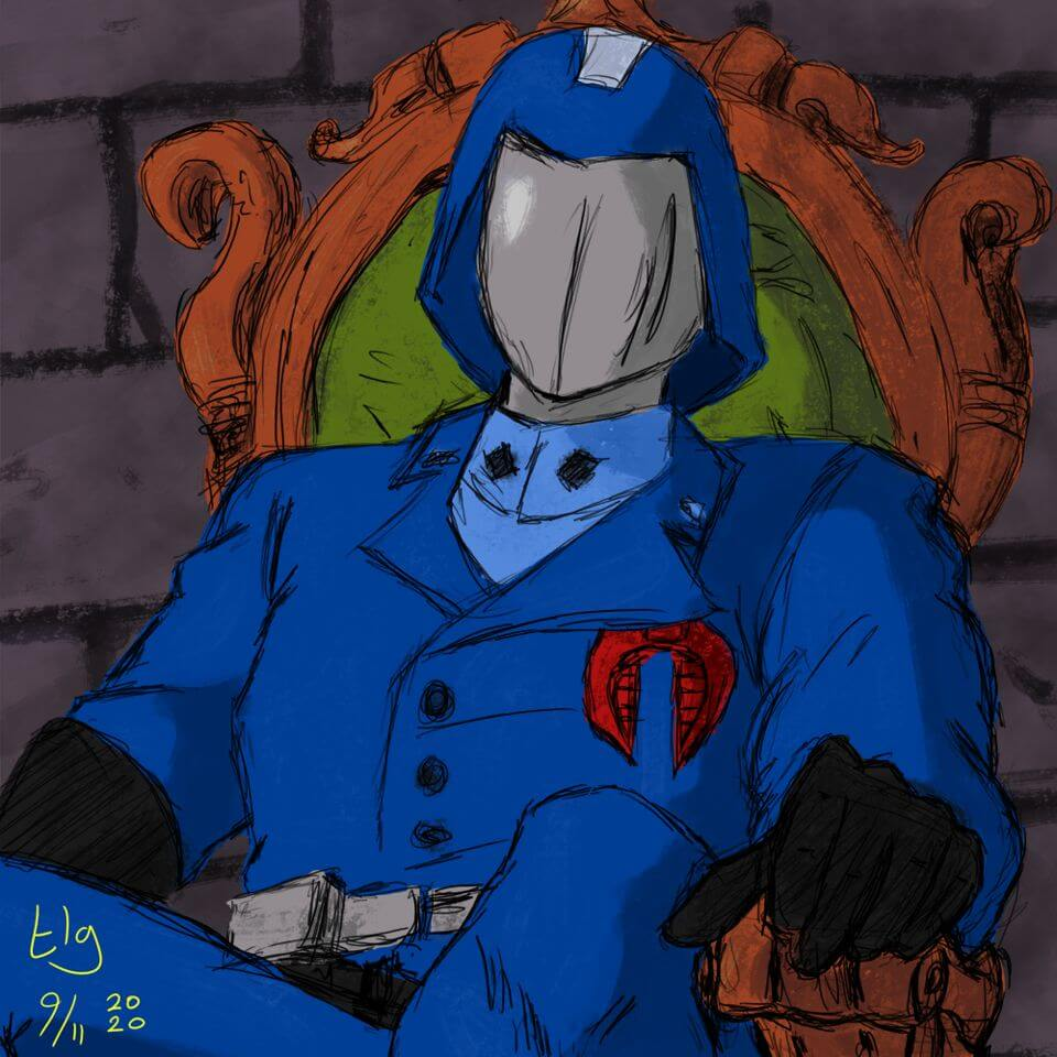 Man in full blue uniform and helmet with a silver visor that completely covers his face. He's sitting on a fancy chair. Definitely not a good guy.