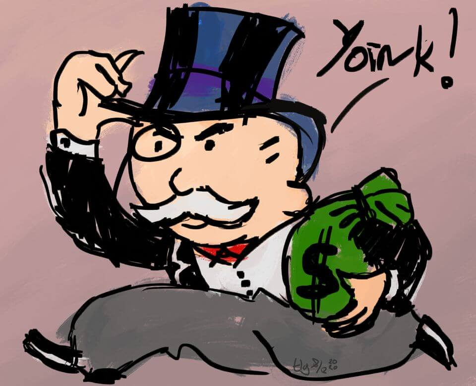 """Quick painting of the Monopoly Guy running with a bag of money, saying """"Yoink!"""""""