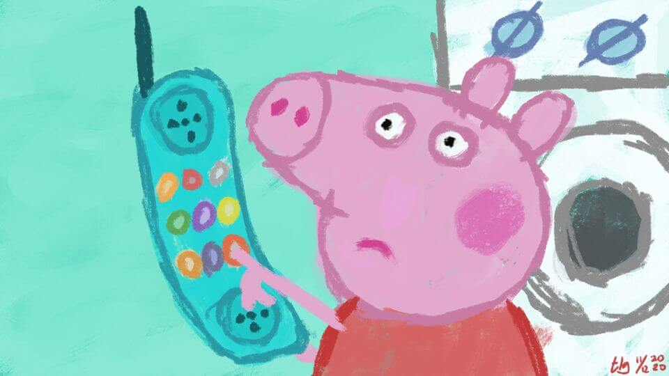 Peppa Pig has her finger on the disconnect button on the phone.
