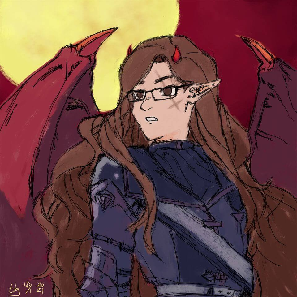 Painting of a generated Picrew avatar of a longhaired woman with glasses, short horns, demonic wings, and what appears to be battle armor.