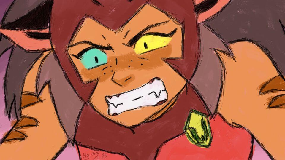 Extreme close-up of a very angry-looking Catra from the Netflix She-Ra and the Princesses of Power series. She's baring her sharp, pointy teeth.