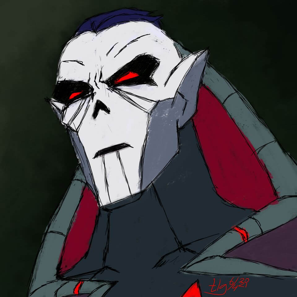 Digital painting portrait of Hordak from tv show She-Ra and the Princesses of Power.