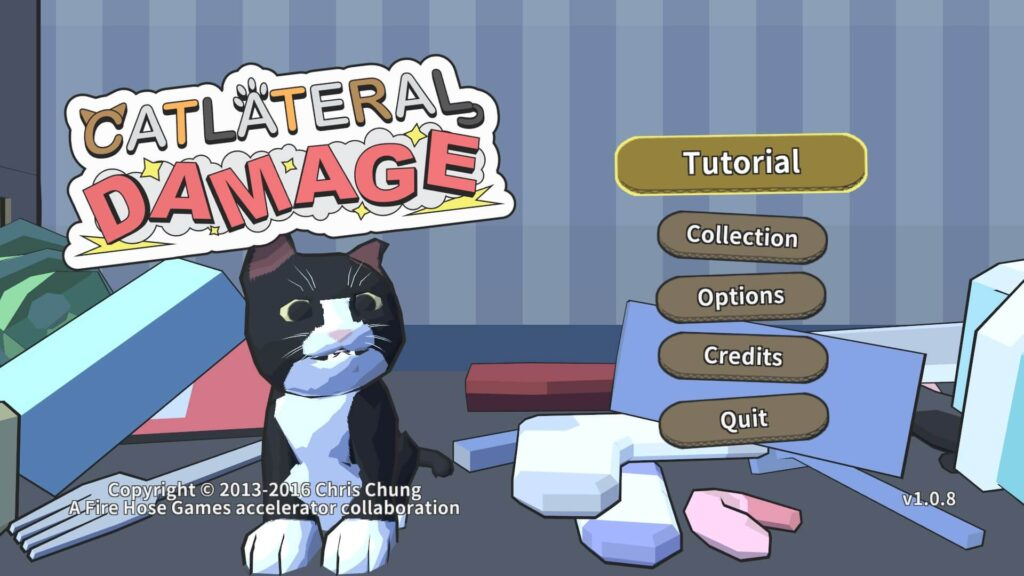 Catlateral Damage start screen showing the logo, a menu, and cute 3D rendered cat with all kinds of stuff that was knocked down around it.