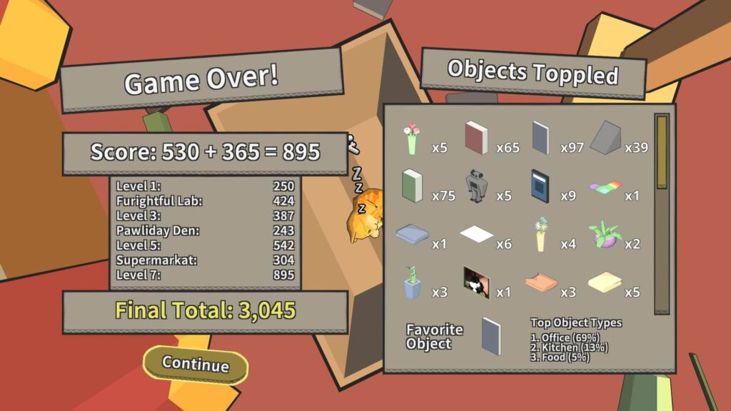 Game total screen with scores and amount and types of objects toppled.